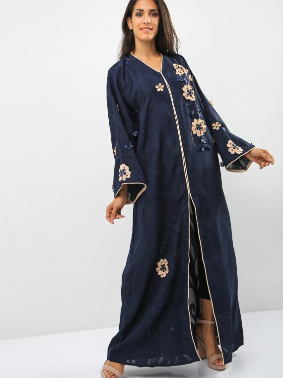 Applique Floral Beaded Abaya-Bousni