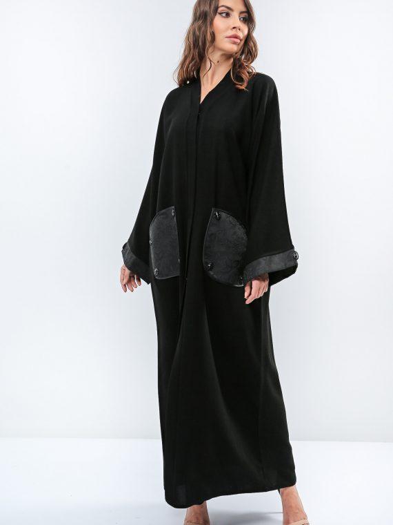 Beaded Patch Pocket Abaya-Roza