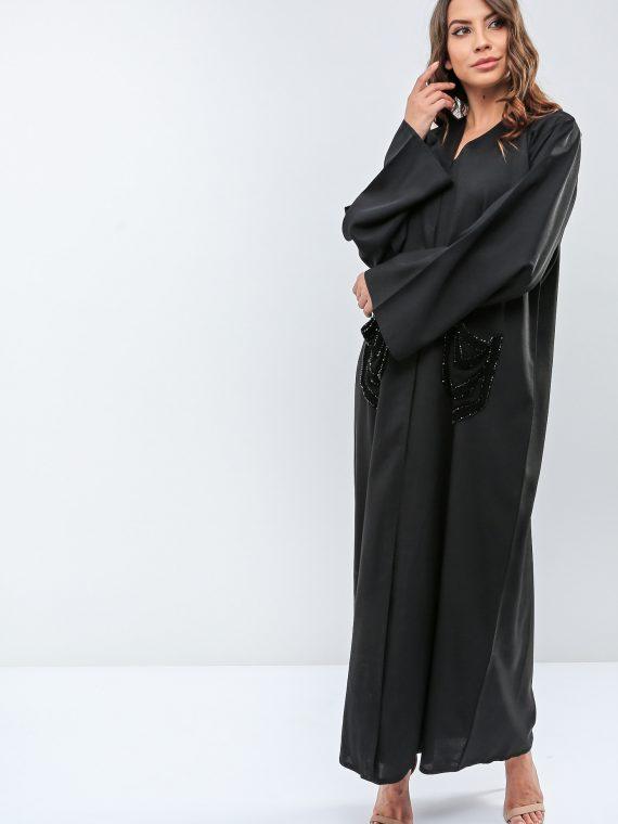 Beaded Pocket Detail Abaya-Roza