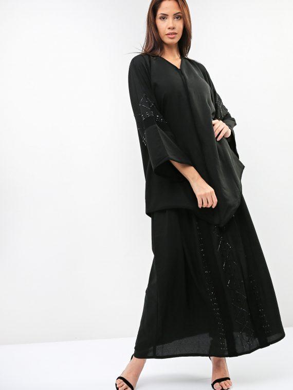 Beads Embroidered Sleeves Abaya-Sara Arabia