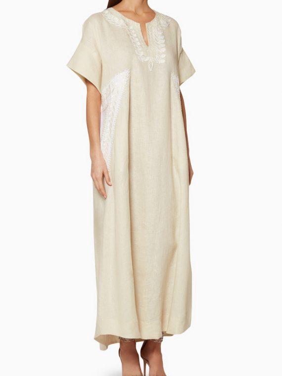 Beige Embroidered Short-Sleeve Kaftan-Dreema By Huda AlSuhaim