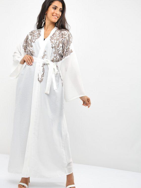 Bisht Embroidered Abaya-Bousni
