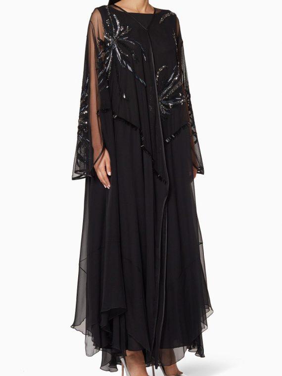 Black Embellished Abaya-Nigwah