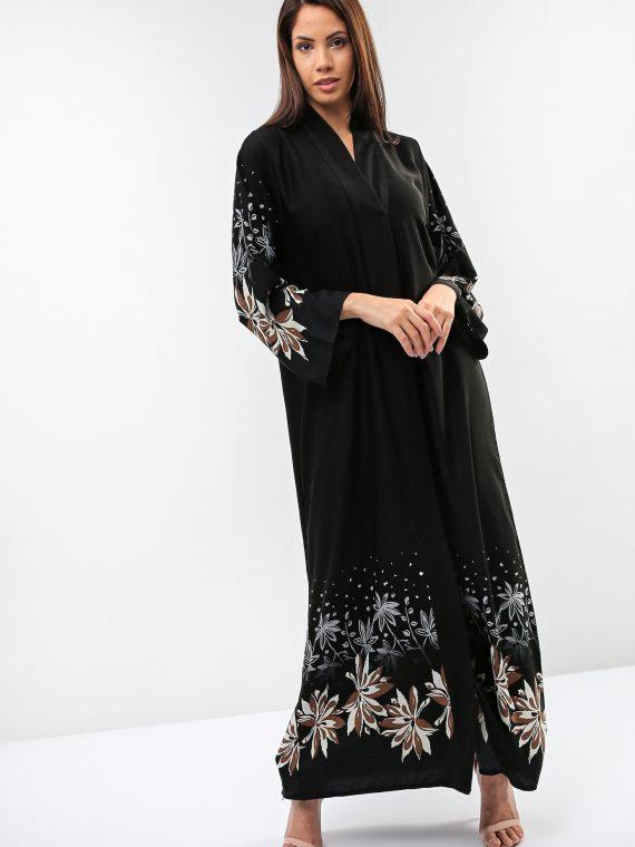 Black Floral Blossom Abaya-Gunay Hafiz