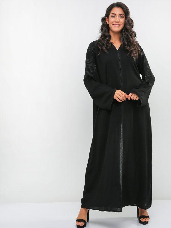Black Stitch Embroidery Abaya-Haya