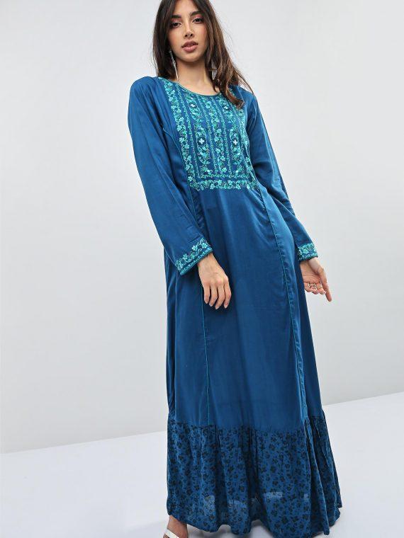 Blue Contrast Lining Jalabiyas-Kashkha