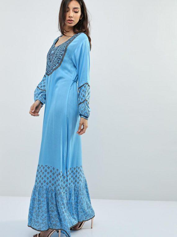Blue Embellished Chain Sleeves Jalabiyas-Kashkha