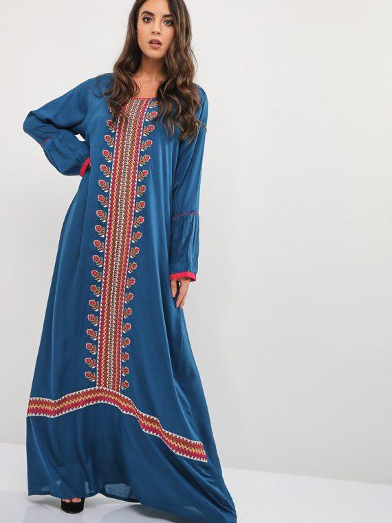 Blue Embroidered Pattern Cuffs Jalabiya-Kashkha