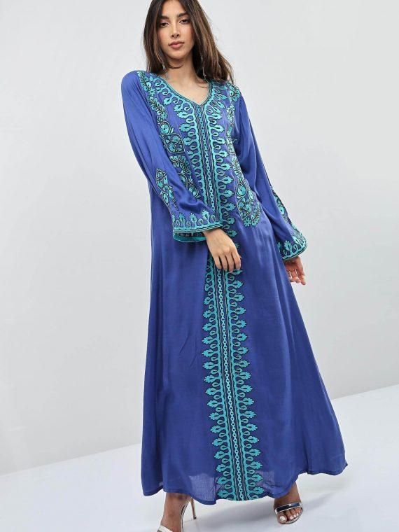 Blue Embroidered Wide Sleeves jalabiyas-Kashkha