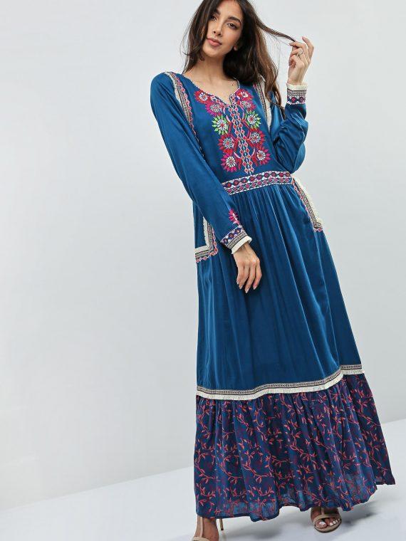 Blue Fringe Detailed Jalabiyas-Kashkha