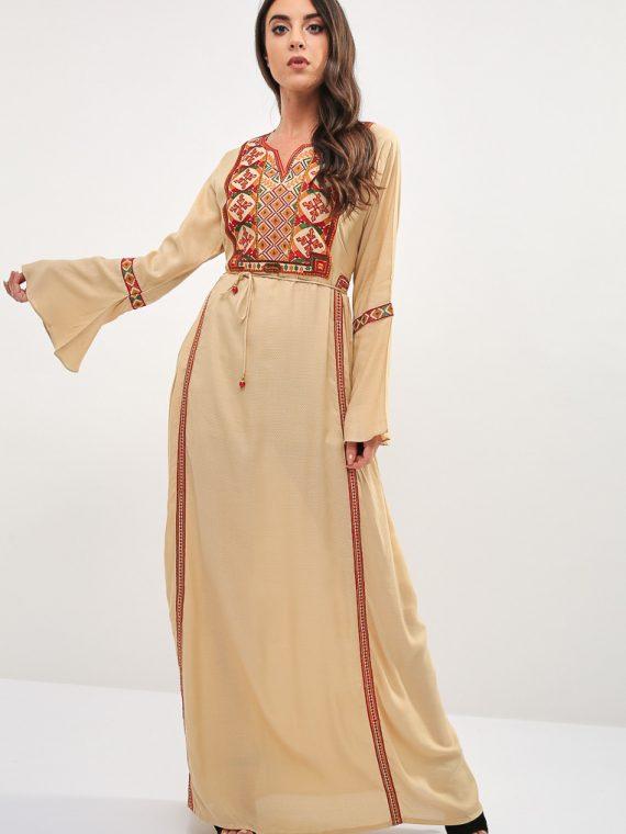 Brown Bell Sleeves Jalabiya-Kashkha