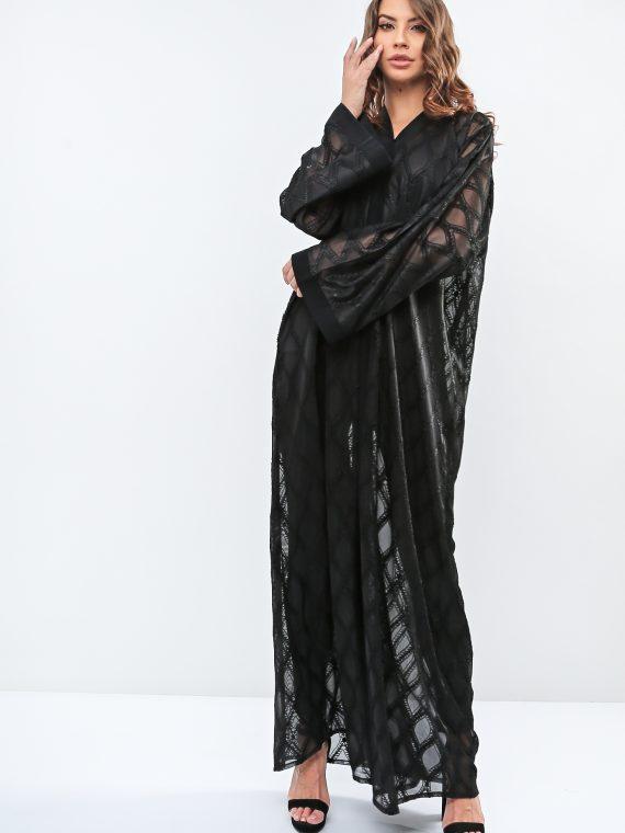 Classic Patterend Embellished Abaya-Haya