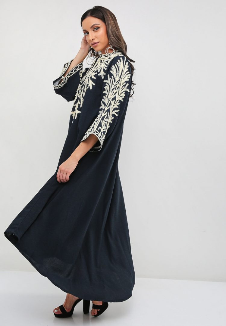 Collar Type Shining Embroidered Jalabiya-Sara Arabia