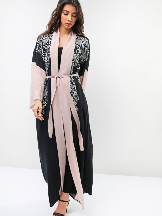 Contrast Sleeve Abaya-Roza