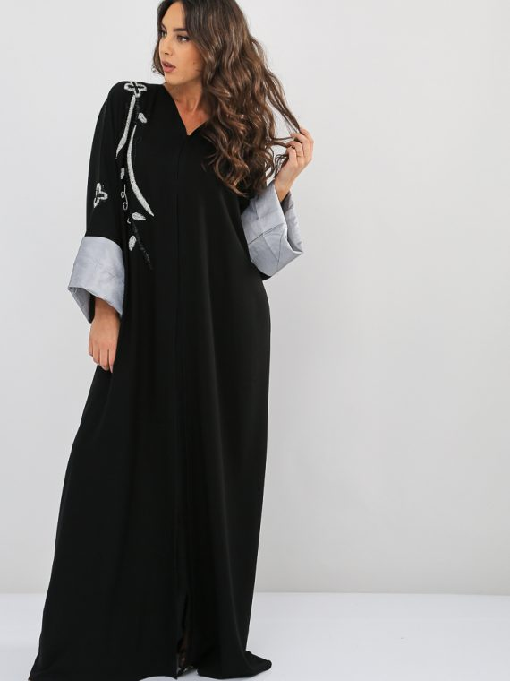 Contrast Sleeves Embroidered Abaya-Nahala