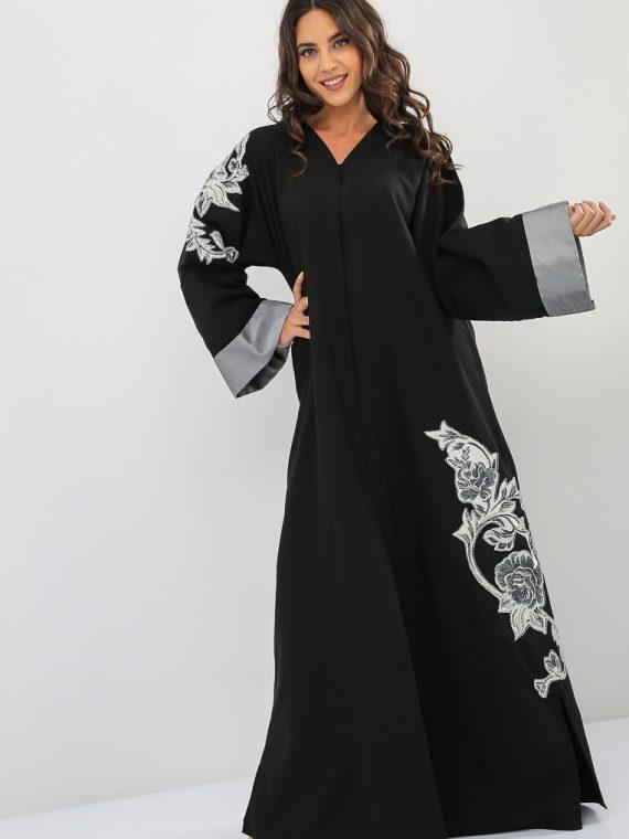 Contrast Sleeves Embroidered Abaya-Nahala