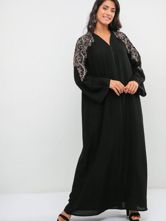 Contrast Stitch Detail Abaya-Haya