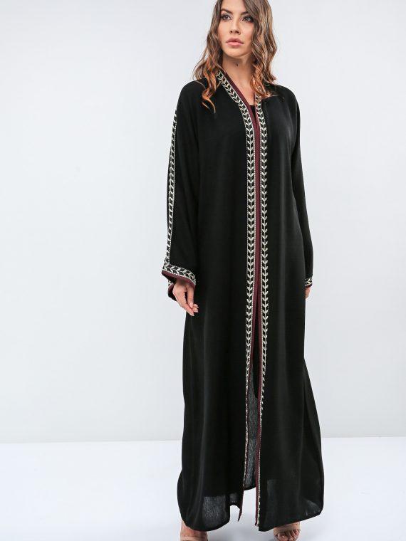 Contrast Trim Abaya-Roza