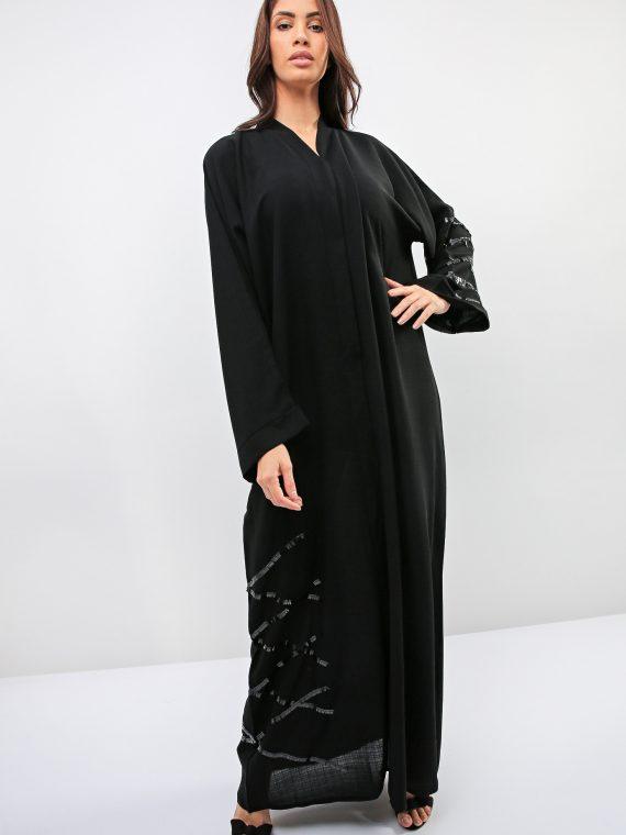 Crisscross Embellished Abaya-Bousni