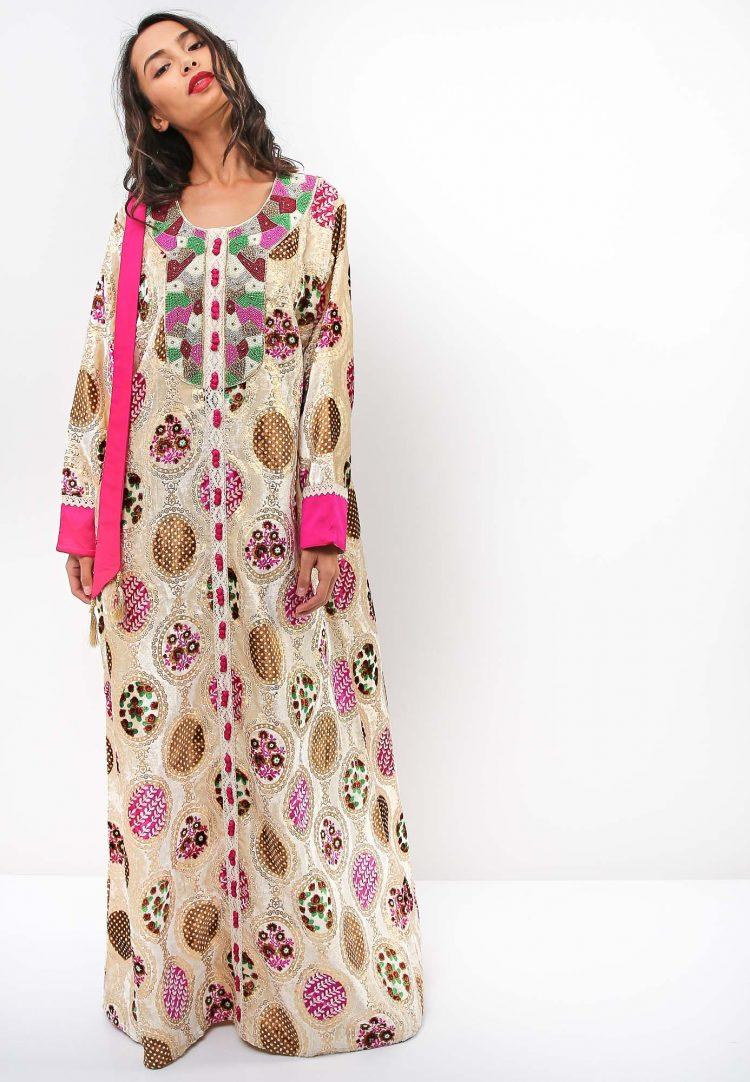 Crocheted Thread Embroidery Jalabiya-Sara Arabia