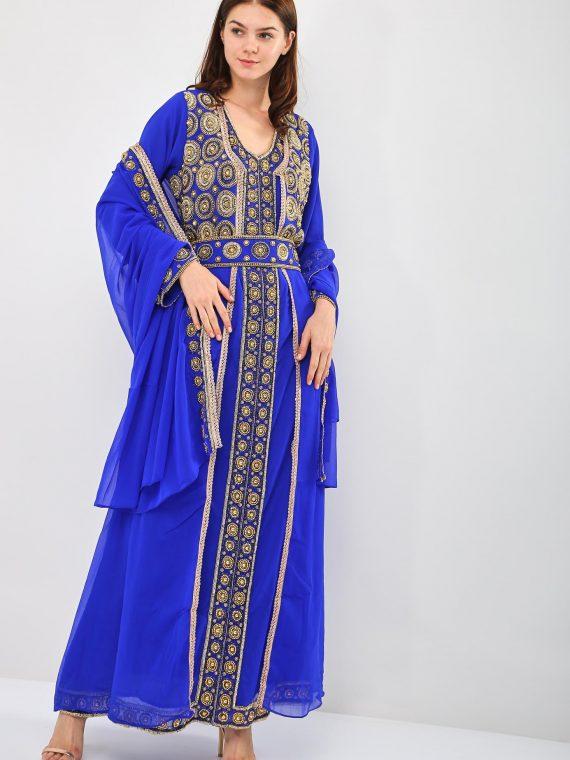 Embellished Beads Work Belted Jalabiya-MST