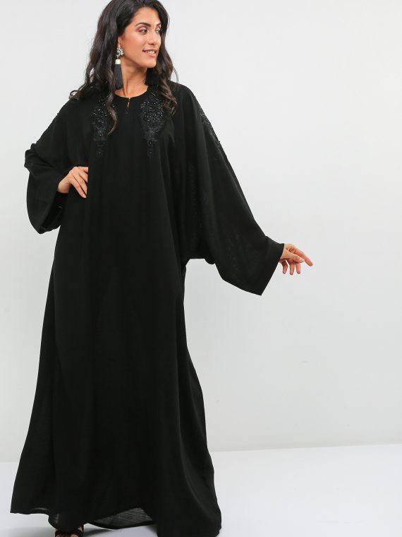 Embellished Neckline Abaya-Haya