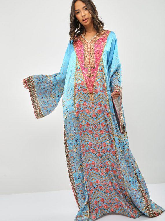 Embellished Printed Jalabiya-AAC