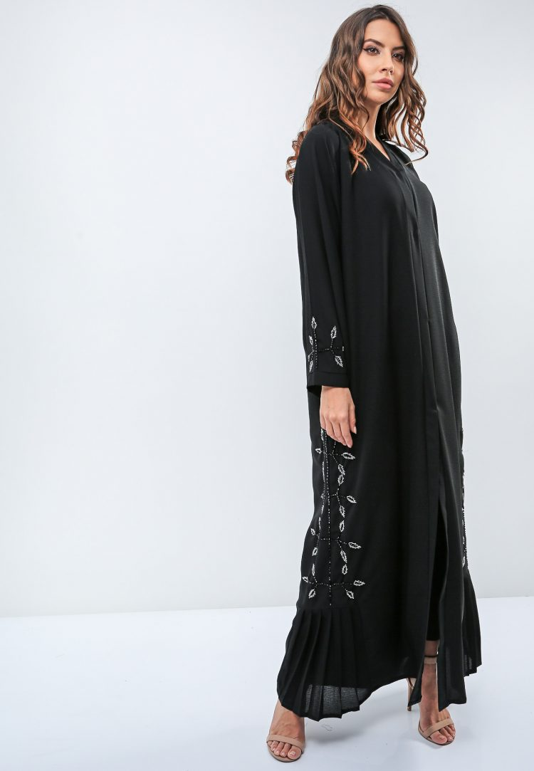 Embellished Side Panel Abaya-Roza