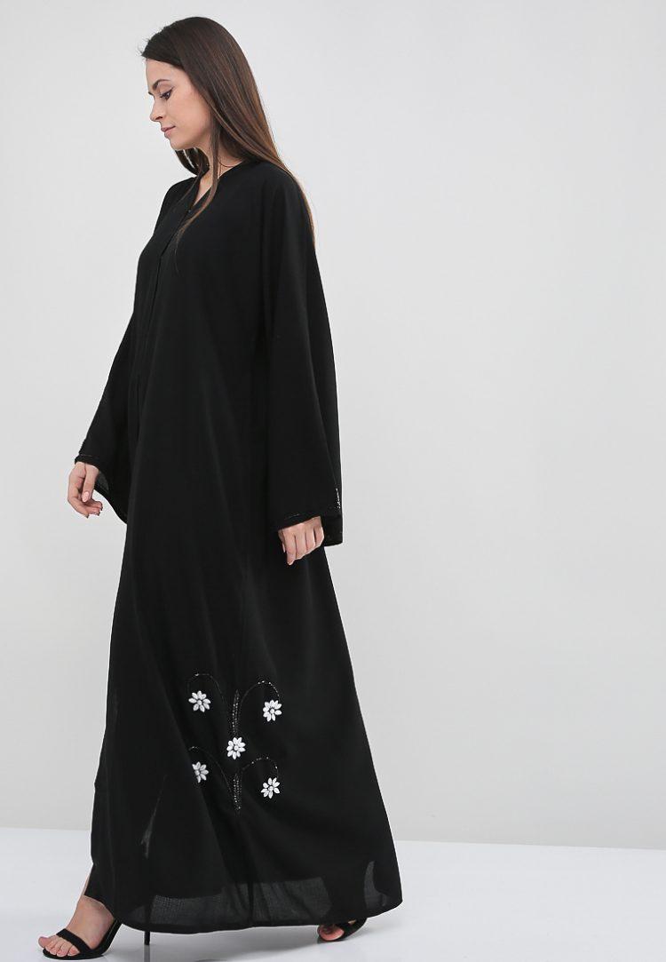 Embellished Trim Abaya-Roza