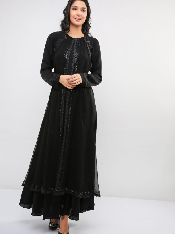 Embellished Umbrella Cut Abaya-MAHA ABAYAS