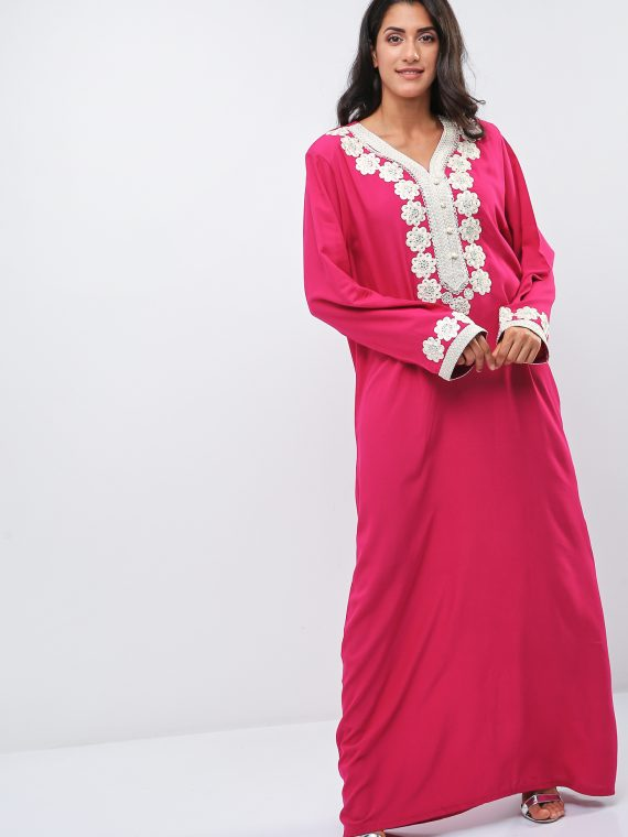 Embellished Wide Sleeves Jalabiya-Christian Intimate