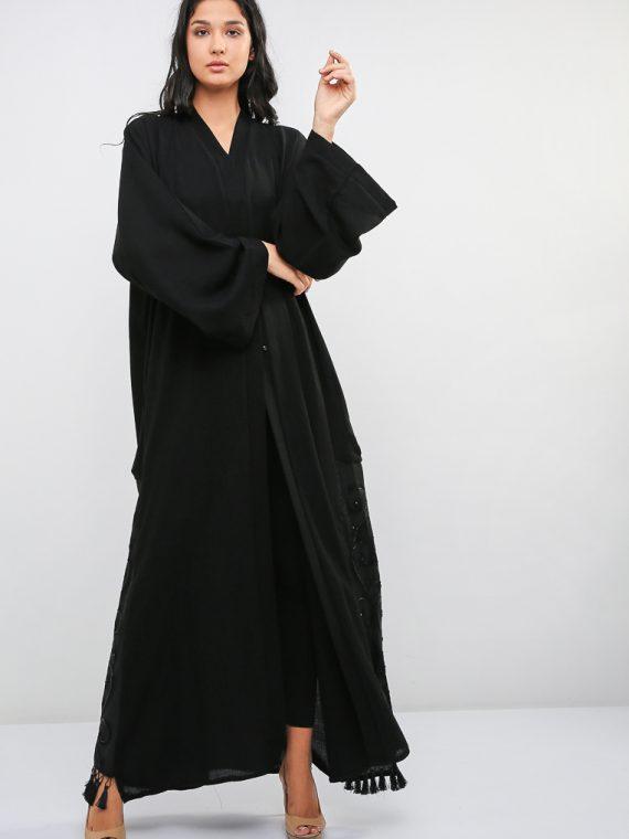 Embossed Embroidered Abaya-Bousni