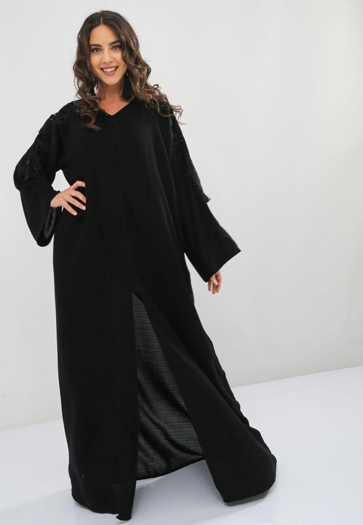Embroidered And Tassel Embellished Abaya-Bousni