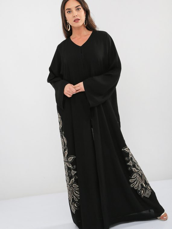 Embroidered Beaded Abaya-Bousni