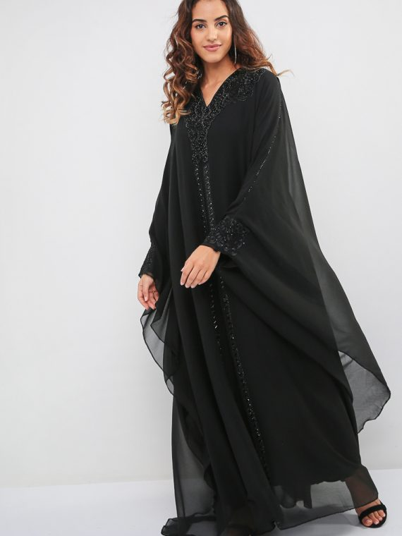 Embroidered Diamante Abaya-MAHA ABAYAS
