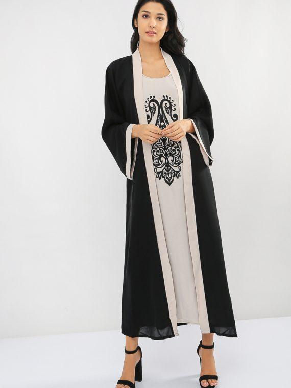 Embroidered Inner Layer Abaya-MAHA ABAYAS