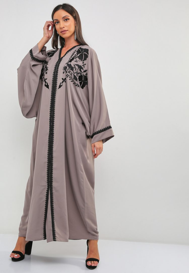Embroidered Lace Abaya-BLACK GOLD