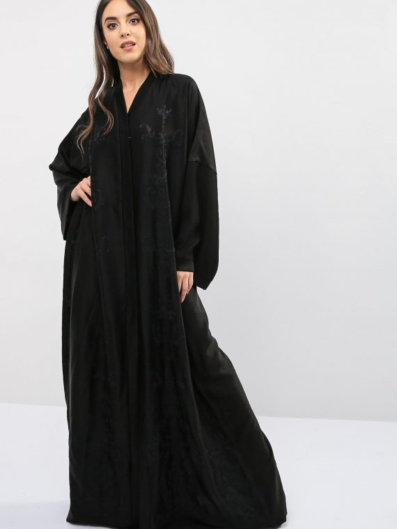 Embroidered Open Front Abaya-Bousni