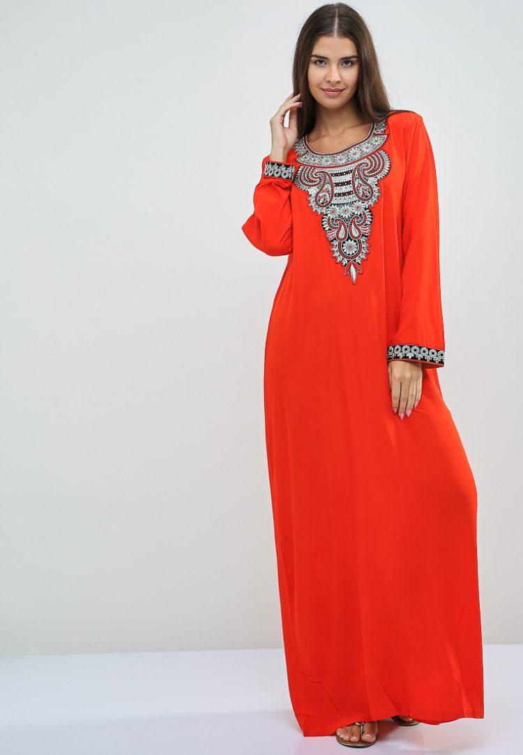Embroidered Orange Jalabiyas-Christian Intimate
