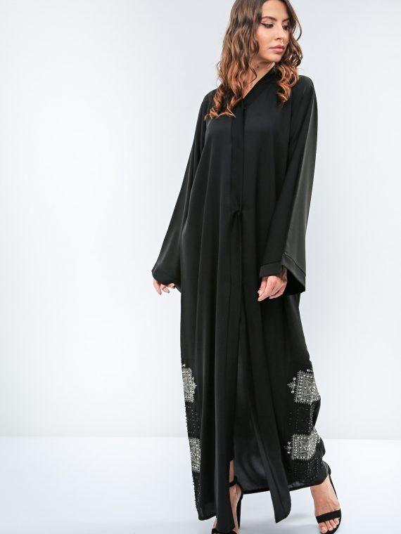 Embroidered Pearl Detail Abaya-Roza