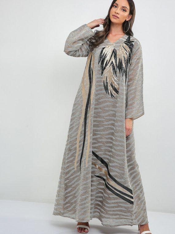 Embroidered Stitch Jalabiya-Sara Arabia