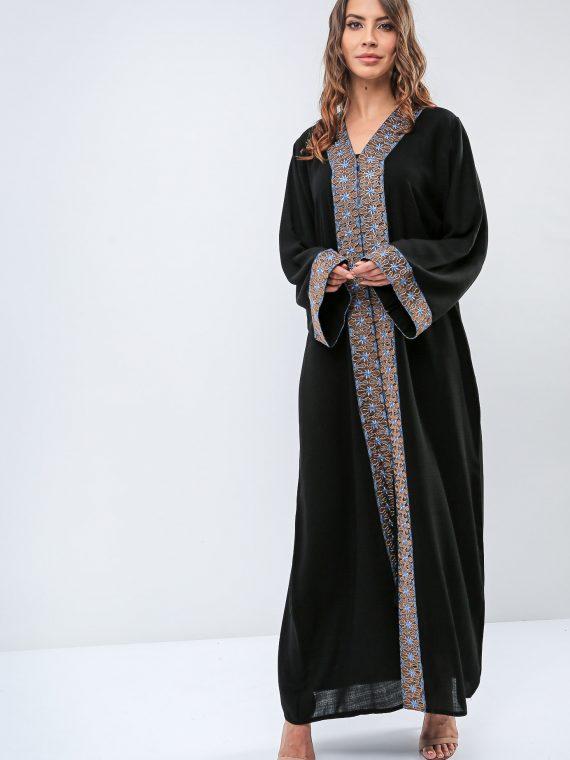 Embroidered Trim Abaya-Roza