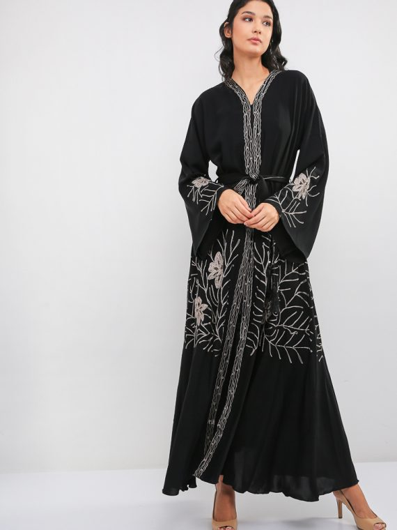 Embroidered Umbrella Cut Abaya-MAHA ABAYAS