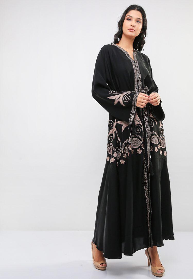 Embroidered Umbrella Cut Abaya-MAHA ABAYAS