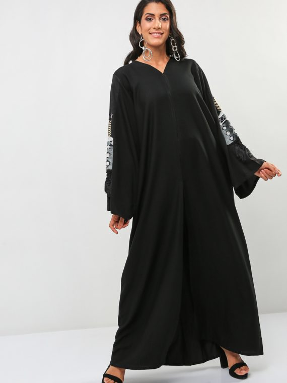 Embroidered Wide Sleeves Abaya-BLACK GOLD