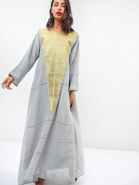 Feather Embroidered Jalabiya-Sara Arabia