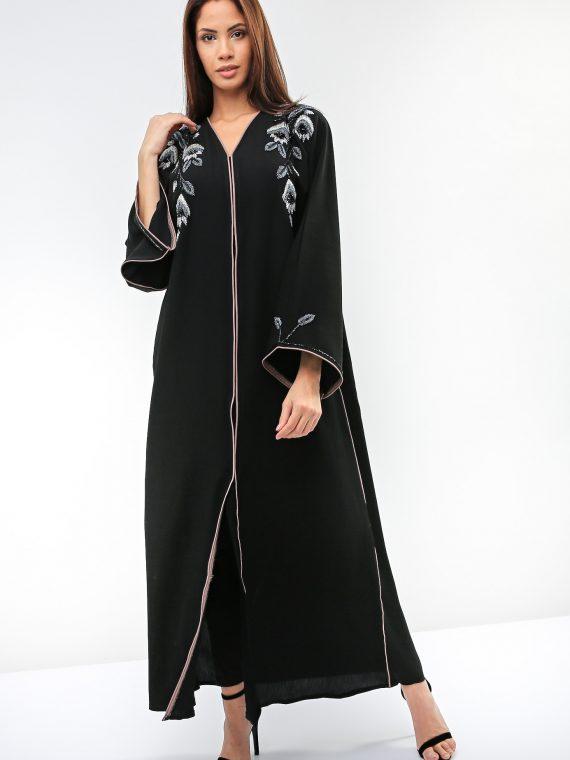 Floral Beads Abaya-Sara Arabia