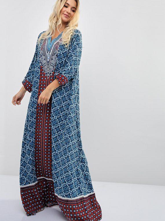 Floral Block Repeat Print Inspired Jalabiya-Sara Arabia