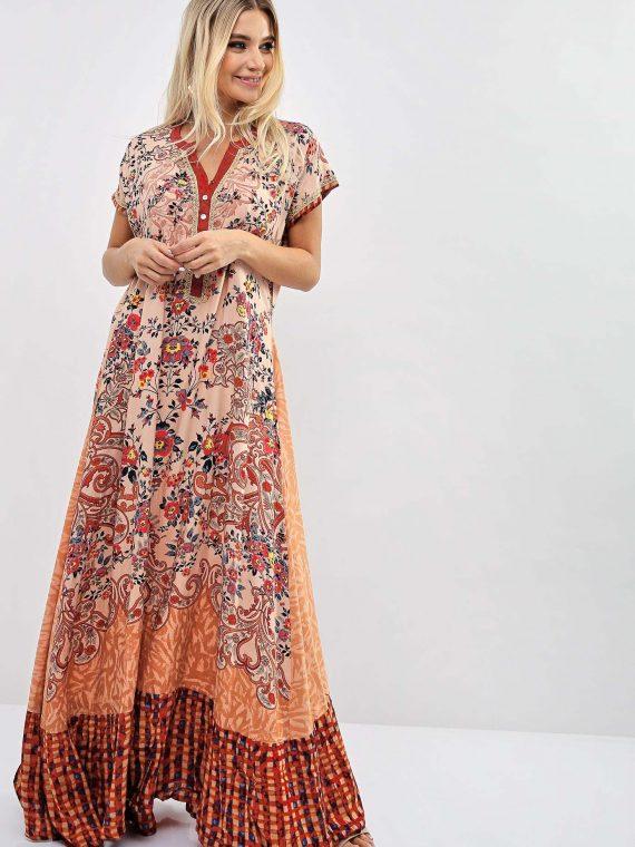 Floral Chequered Print Inspired Jalabiya-Sara Arabia