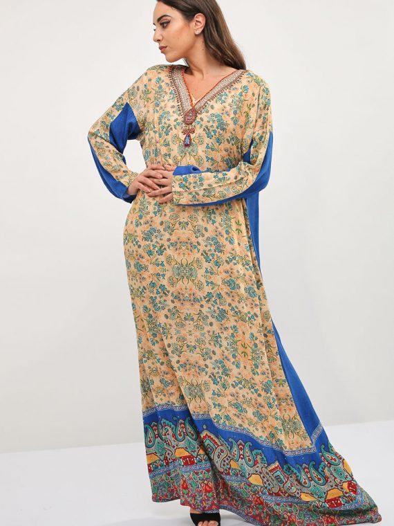 Floral Design Back Jalabiya-Kashkha